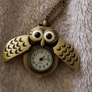 Womens owl clock necklace on poshmark jewelry owl clock necklace mozeypictures Images